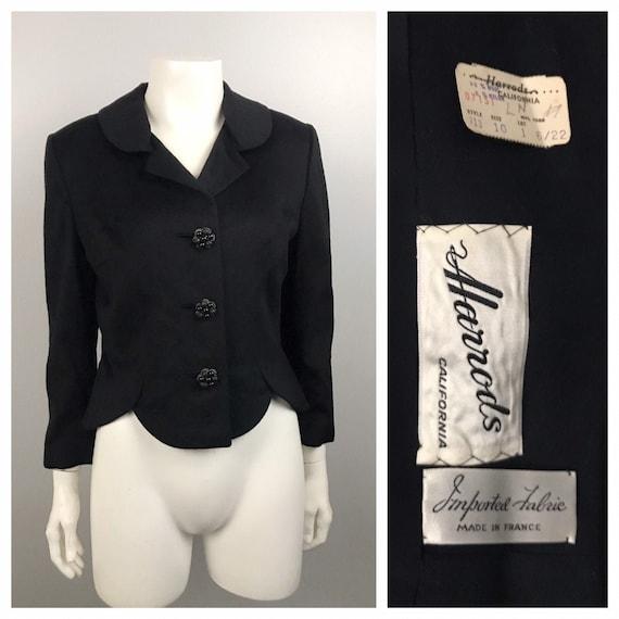 1950s Wool Coat Jacket / Harrods NOS Button Up Cro