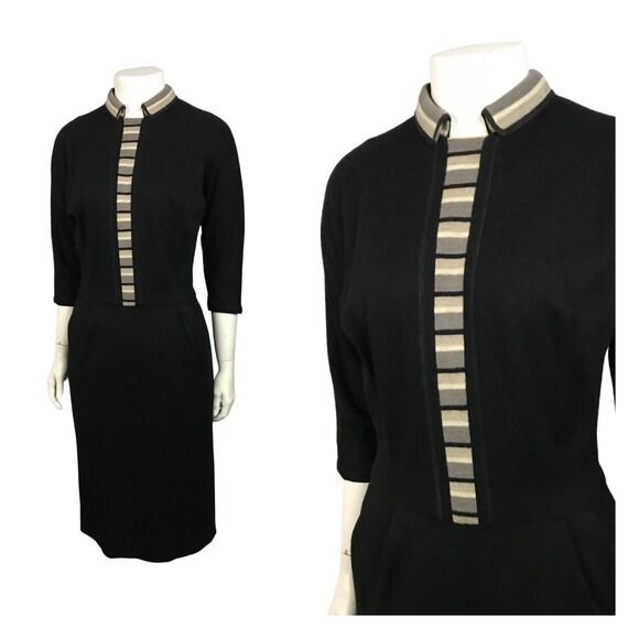 1950s Sweater Dress / 50s Black Stripe Knit Wiggle