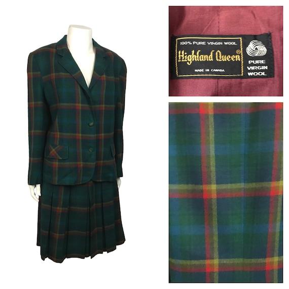 1960s Wool Suit Dress Set / Rainbow Plaid Blazer J