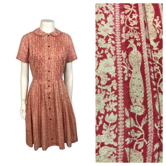 1950s Dress / Peacock Bird Novelty Print Cotton Dr