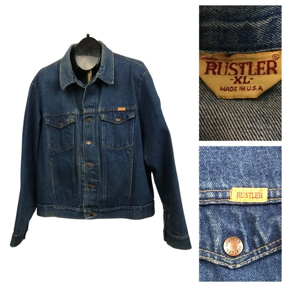 1970s Rustler Jean Jacket / 70s Denim Blue Trucker