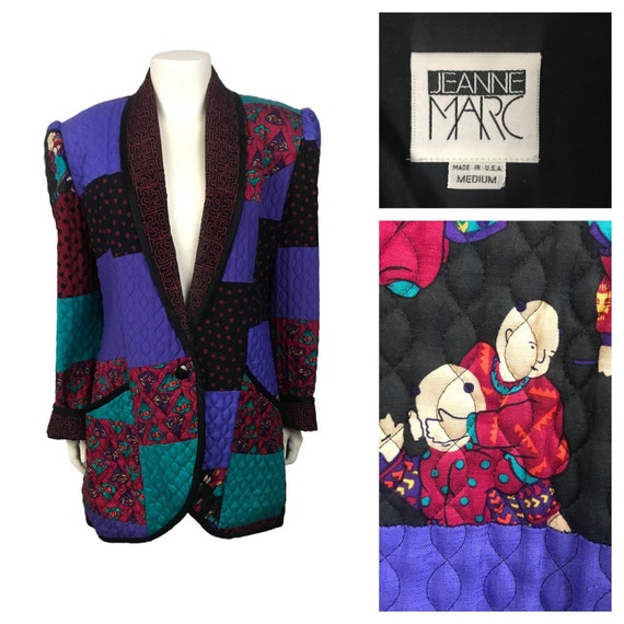 1980s Jeanne Marc Jacket / Asian Novelty Patchwork