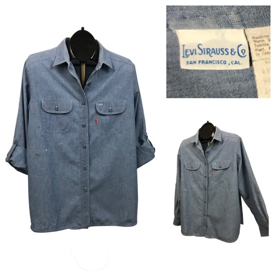 1980s Levis Work Shirt / 80s Blue Chambray Button