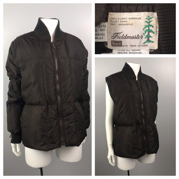 1980s Puffer Coat / Brown Nylon Puffer Jacket and