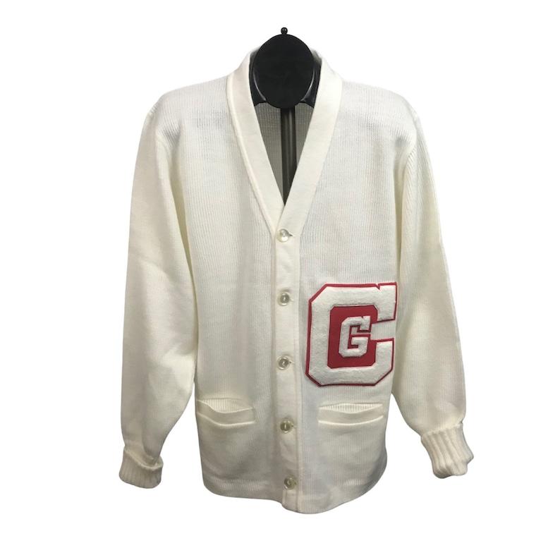 Vintage Letterman Sweater  1960s White School Cardigan Top  Women\u2019s Large