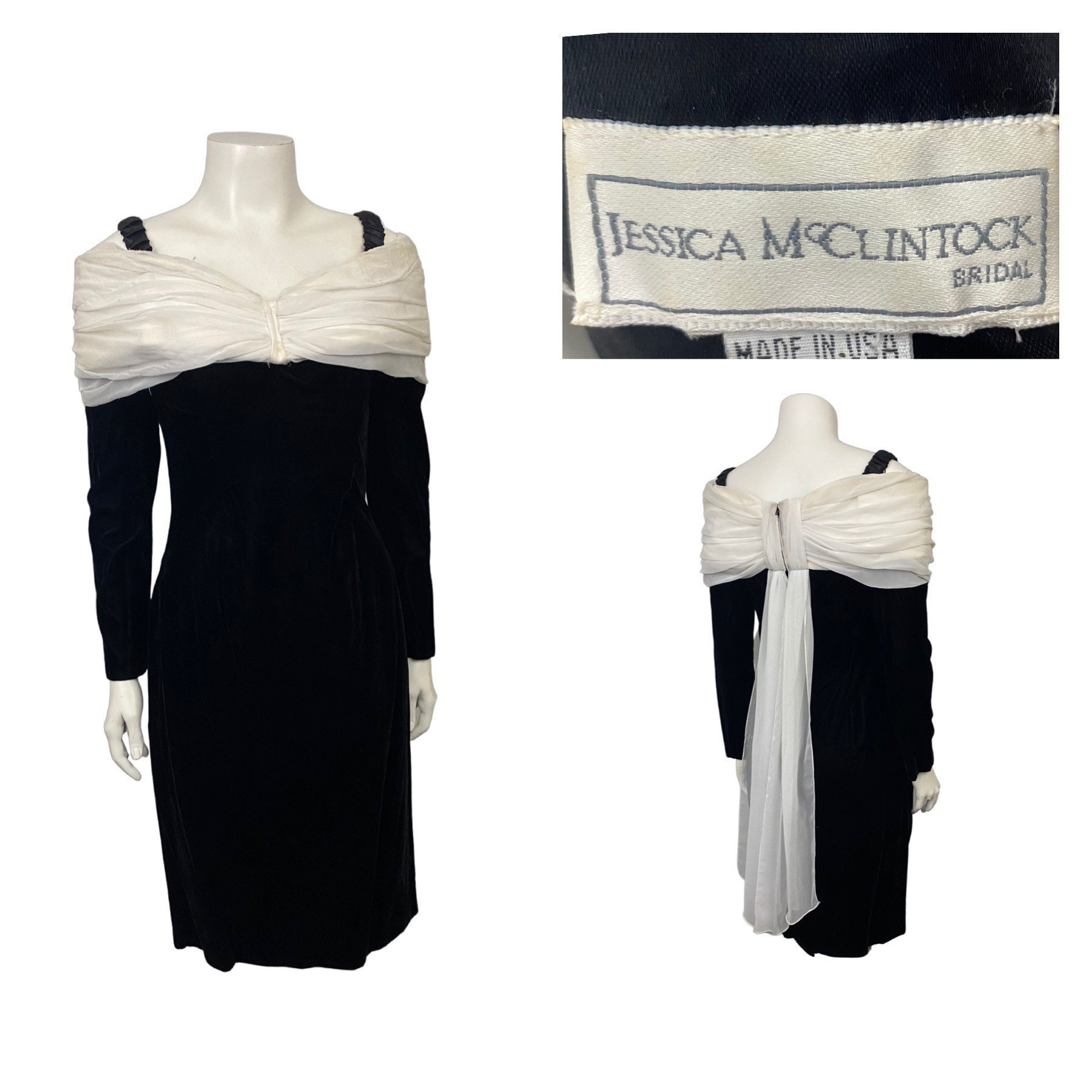 80s Dresses | Casual to Party Dresses Vintage Jessica Mcclintock DressVelvet Off The Shoulders Party Womens Xs $62.30 AT vintagedancer.com