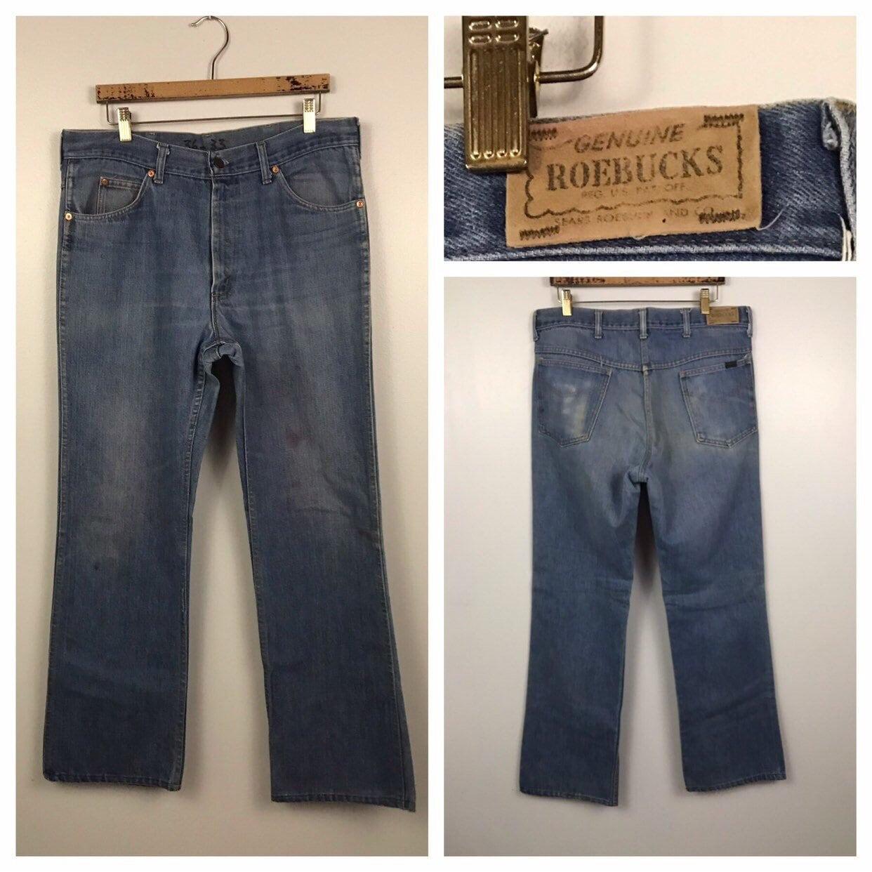 1960s – 70s Men's Ties | Skinny Ties, Slim Ties 1960S Blue Roebucks Rare Denim Jeans60S 70S Retro Distressed Straight Leg Pants Mens 36x33 $65.62 AT vintagedancer.com