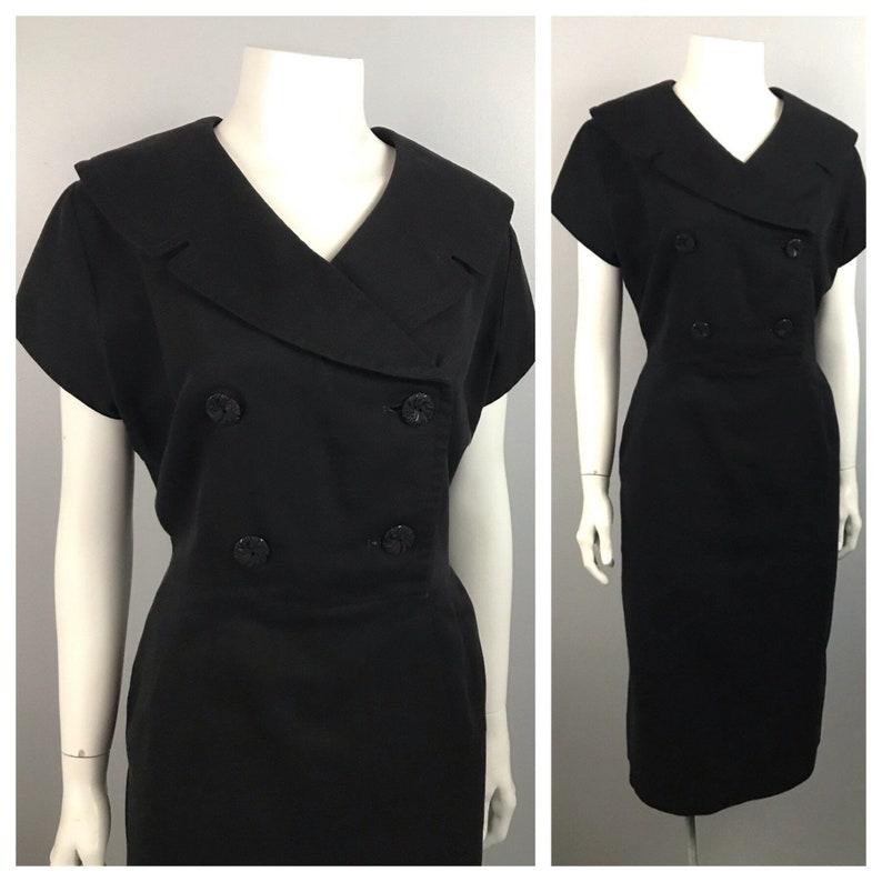 1950s Wiggle Dress  Black Button Up Dress Oversized Collar Short Sleeve  Women\u2019s Large