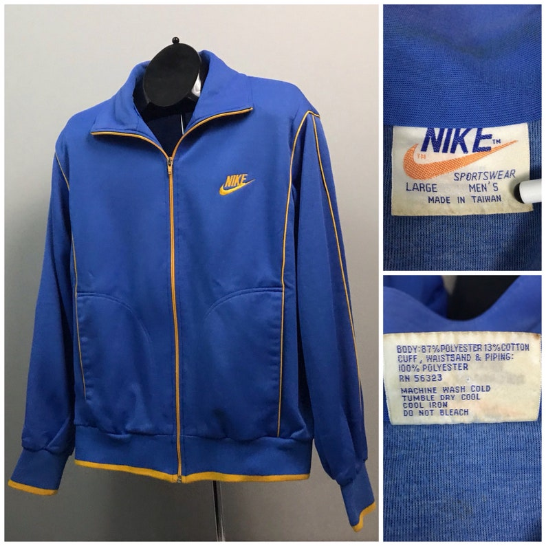 22b2cbd33 Vintage 1980s Blue and Gold Nike Gold Swoosh Zip Up Track | Etsy