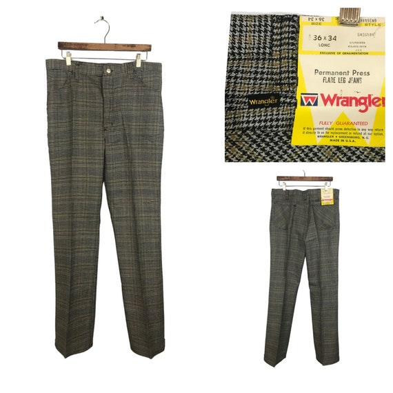 60s Wrangler Sta Prest Pants / 60s NOS Houndstooth