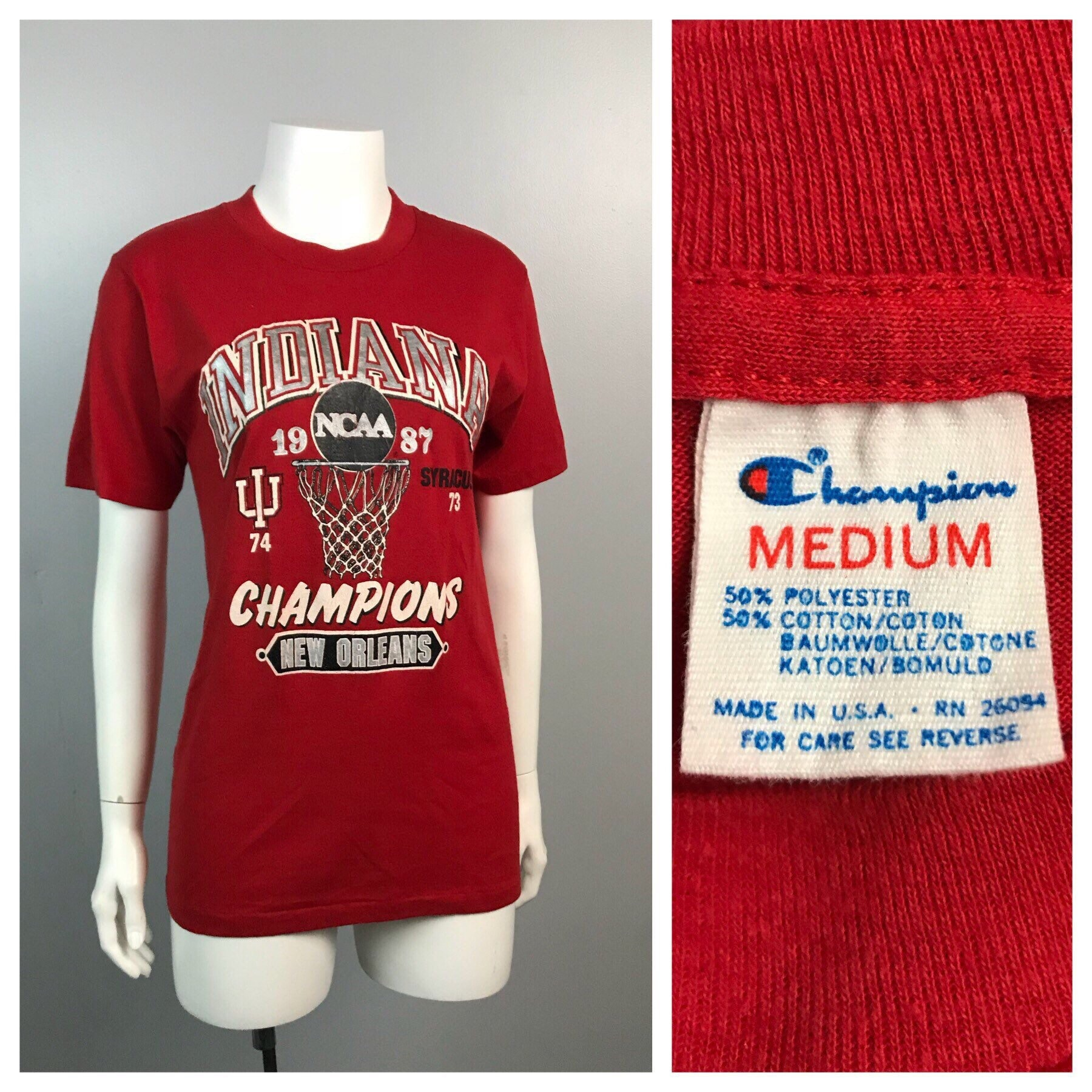 Vintage 1980s Threadbare Indiana Hoosiers Basketball 87 Champions T Shirt Womens Small 80s Retro Champion Iu Graphic Cotton Tee Unisex Tshirt