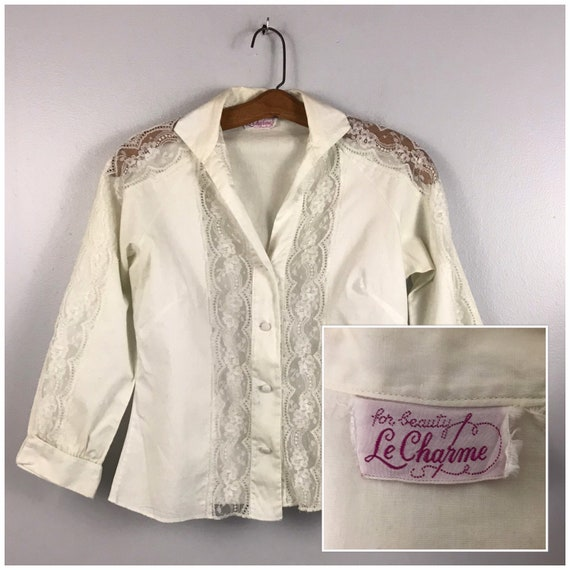 1950s Blouse / 50s White Lace Panel Button Up Shir