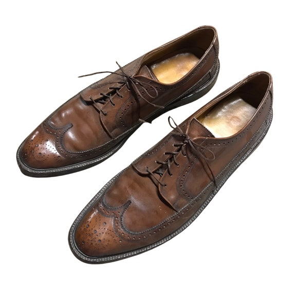 1960s Florsheim Wingtip Shoes / 60s Brown Leather