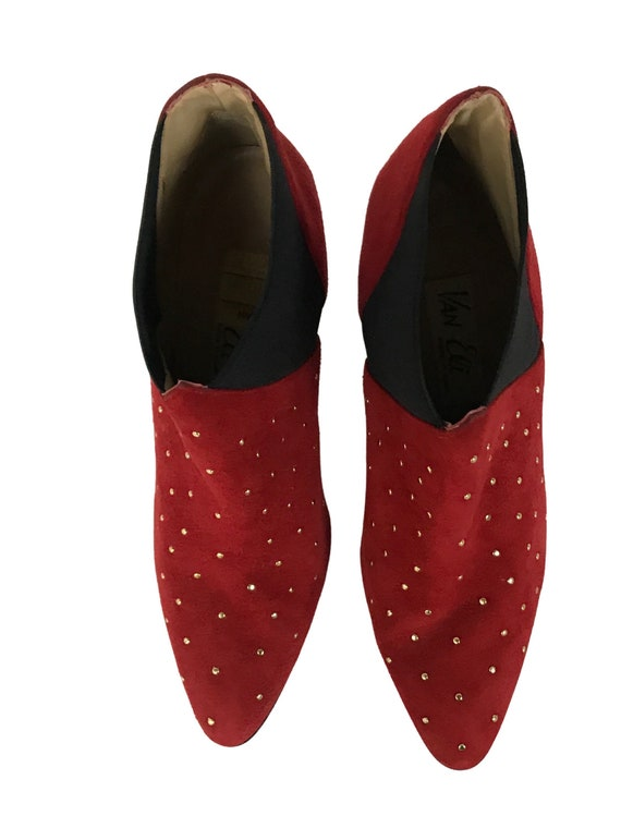 Vintage Red Studded Ankle Boots / 1990s Pointy To… - image 3