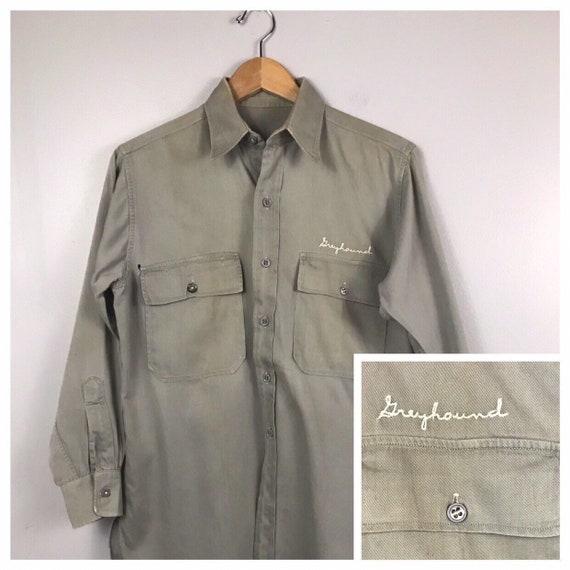 1940s Greyhound Bus Button Down Work Shirt / 40s C