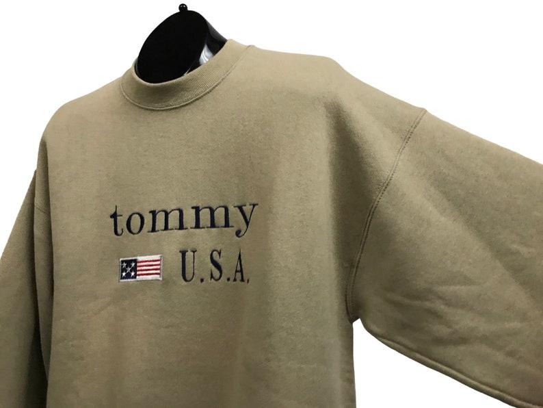 1990s Tommy Bootleg Sweatshirt  Late 90s 2000 Beige Cotton Sweatshirt Streetwear  Men/'s Large