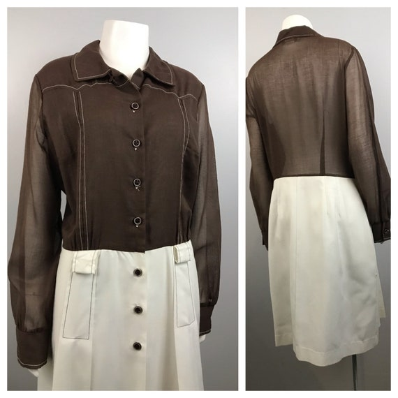1960s Dress / Brown & White Color Block Button Up