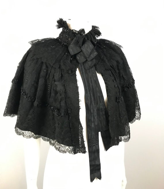 Antique Cape / Early 1900s Edwardian High Neck Col