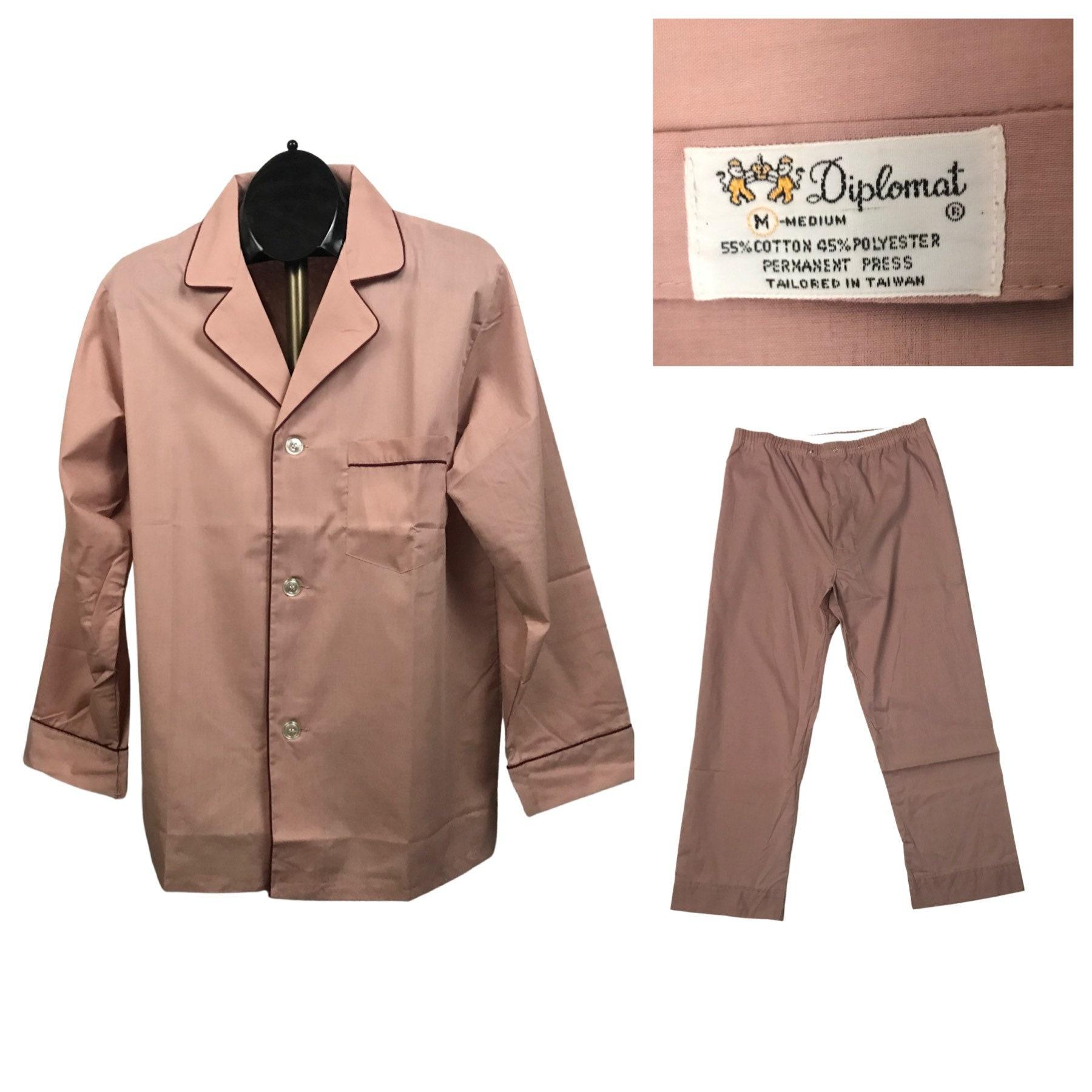 1960s – 70s Men's Ties | Skinny Ties, Slim Ties 1960S Pajamas SetPink Two Piece Shirt Pants Loungewear Pjs Unworn Mens Medium $54.00 AT vintagedancer.com