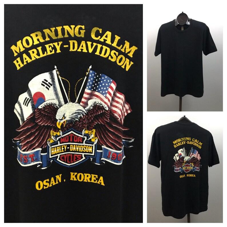 1980s Motorcycle T Shirt  80s NOS Harley Davidson Korea Tour Souvenir Tee  Men/'s Medium