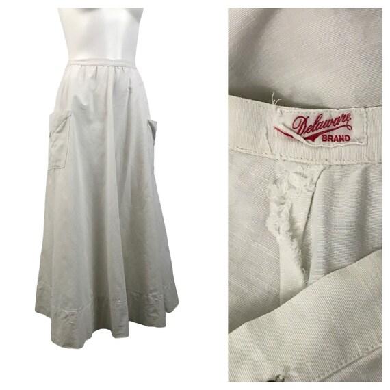 1920s White Cotton Skirt / Antique Long A Line Ski