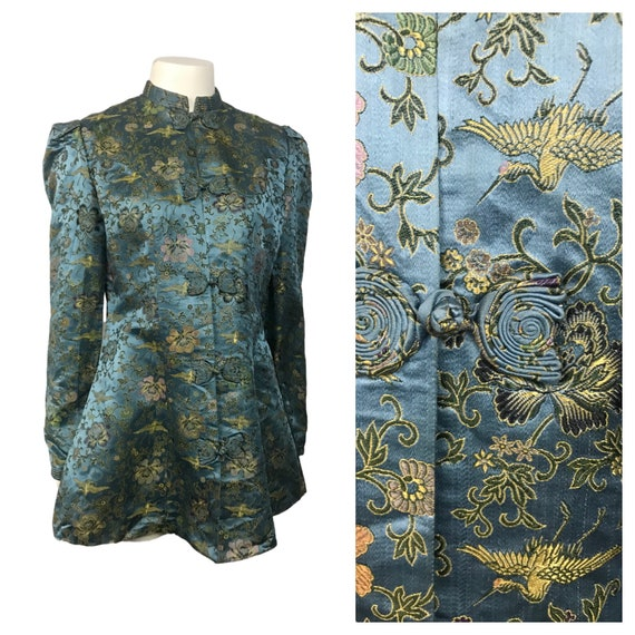 1930s Chinese Jacket Top / Blue Silk Bird Flower B