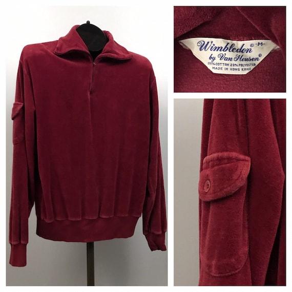 1970s Velour Shirt / 70s Burgundy Zip Up Funnel Ne