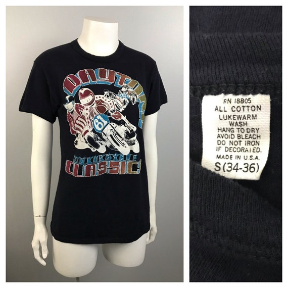 1970s Motorcycle T Shirt / 70s Daytona Motorcycle