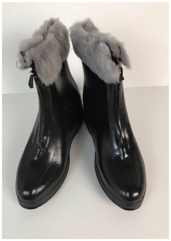60s Trim Hipster Boots Unworn Up Rain Mod Women's 6 1960s Galoshes GoGo Vintage Boots Vinyl Wet Zip Fur Black NOS Look Faux OfFBa