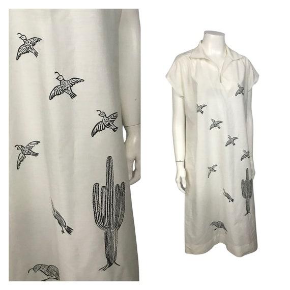 1980s Novelty Print Dress / Bird & Cactus Print Sl
