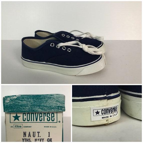 Vintage NOS Deadstock 1970s Converse Nautilus Blue Canvas Tennis Shoes Youth 1.5 70s Stripe Summer Shoes USA NIB