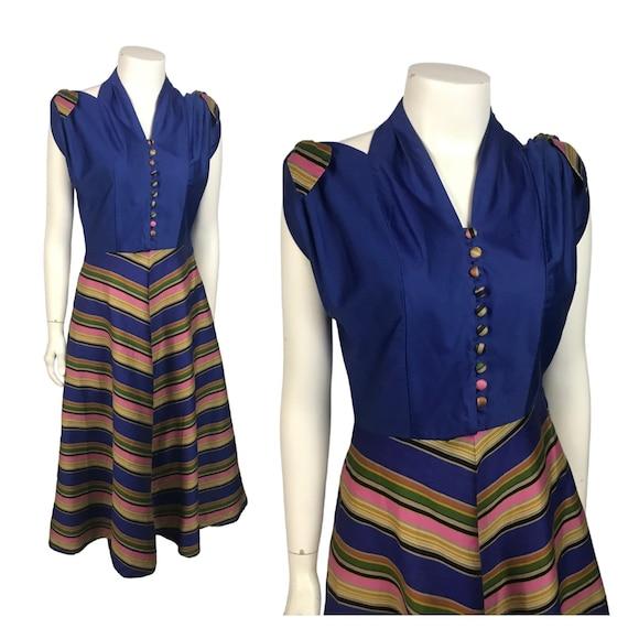 1940s Sleeveless Halter Top Dress / 40s Pinup Stri