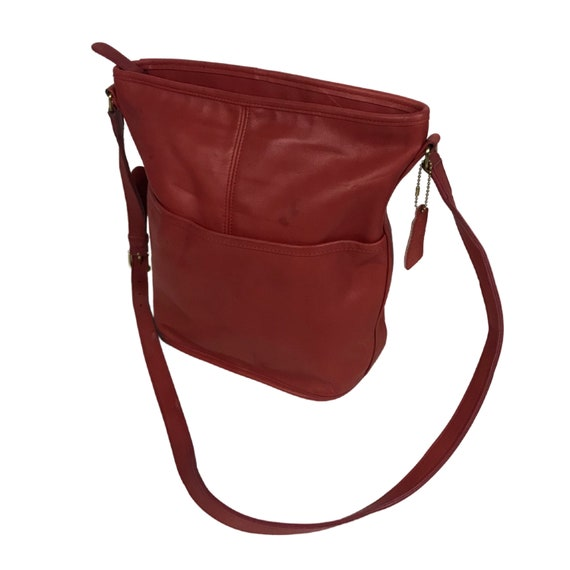 Vintage Coach Red Leather Bucket Bag / 1990s Shoul