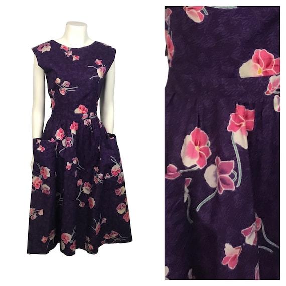 1980s Island Dress / 80s Floral Print Frock Dress