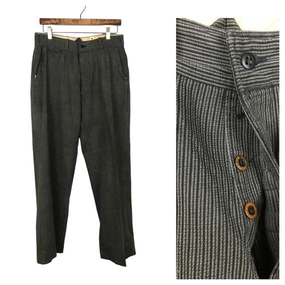 1930s Button Fly Work Pants / 30s Black White Stri
