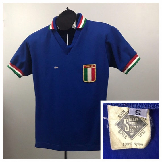 1970s Italy Soccer Jersey / RARE 70s Blue Stripe S