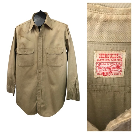 1930s Work Wear Shirt / 30s Distressed Hercules Co