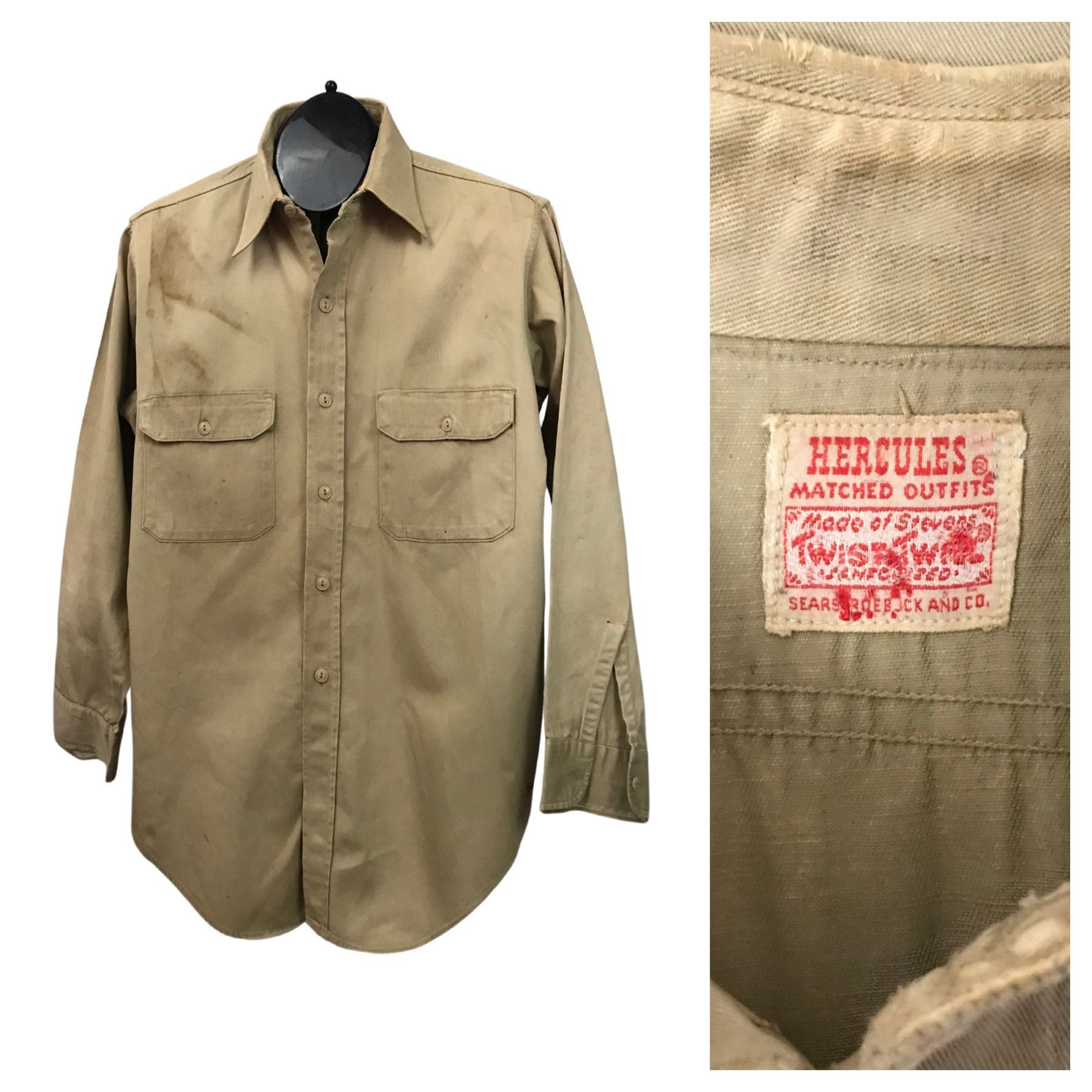 New 1930s Mens Fashion Ties 1930S Work Wear Shirt30S Distressed Hercules Cotton Button Up Mens Large $25.00 AT vintagedancer.com