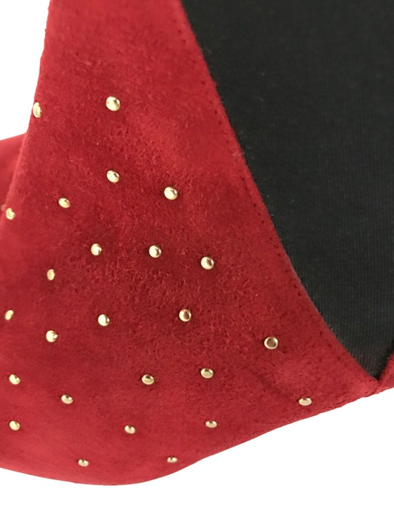 Vintage Red Studded Ankle Boots / 1990s Pointy To… - image 2