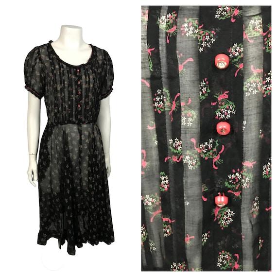 1940s Dress / Sheer Floral House Dress Short Sleev