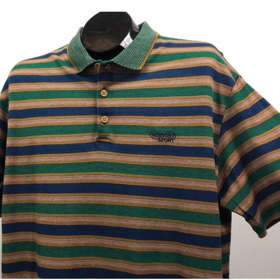 années 1980 Missoni Sport 3 bouton Stripe Polo Shirt tricot / des années 80 en tricot Shirt de coton rétro chemise Casual / milieu d'hommes 20104d
