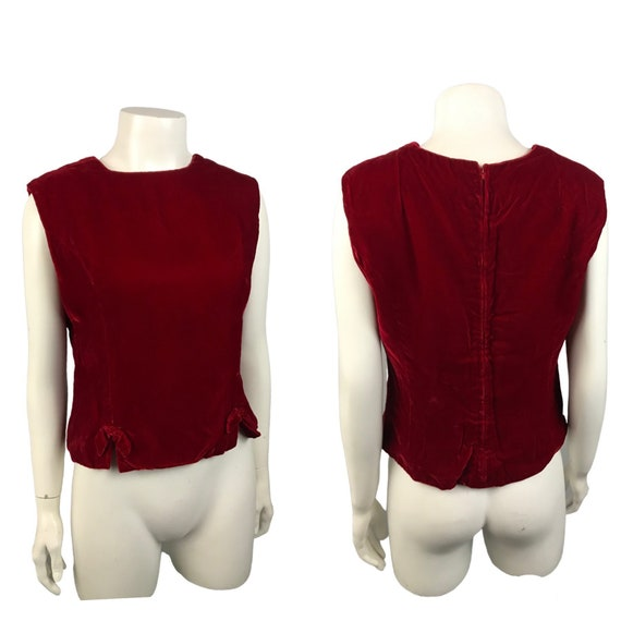 1960s Red Velvet Blouse Top / 60s Sleeveless Crop