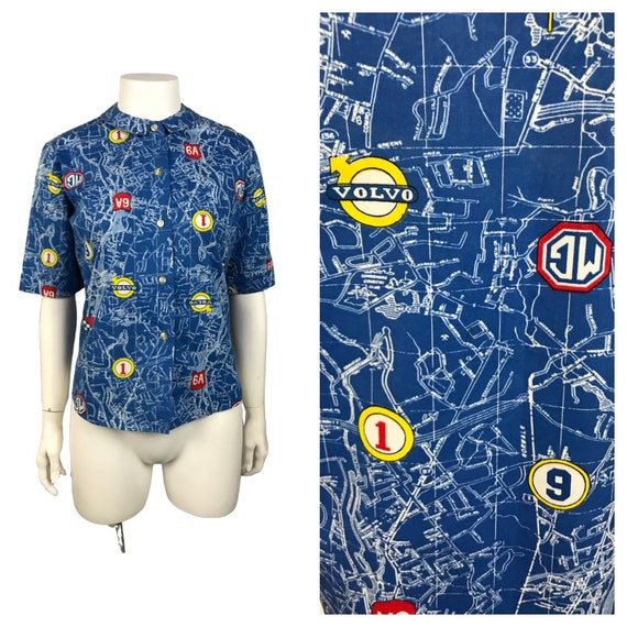 1960s Novelty Print Blouse / 60s MG Volvo Auto Map