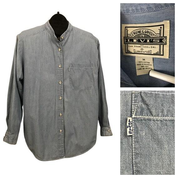 1990s Levi's Work Shirt / Collarless Denim Chambra