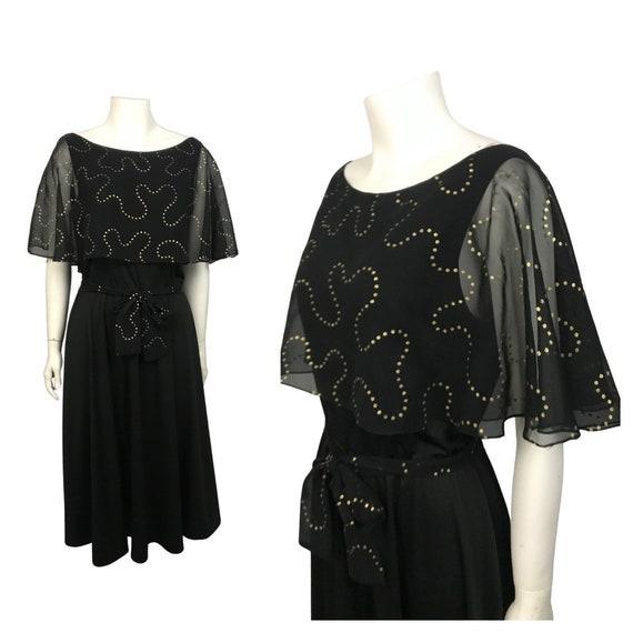 1970s Black Dress / 70s Disco Sheer Flutter Sleeve