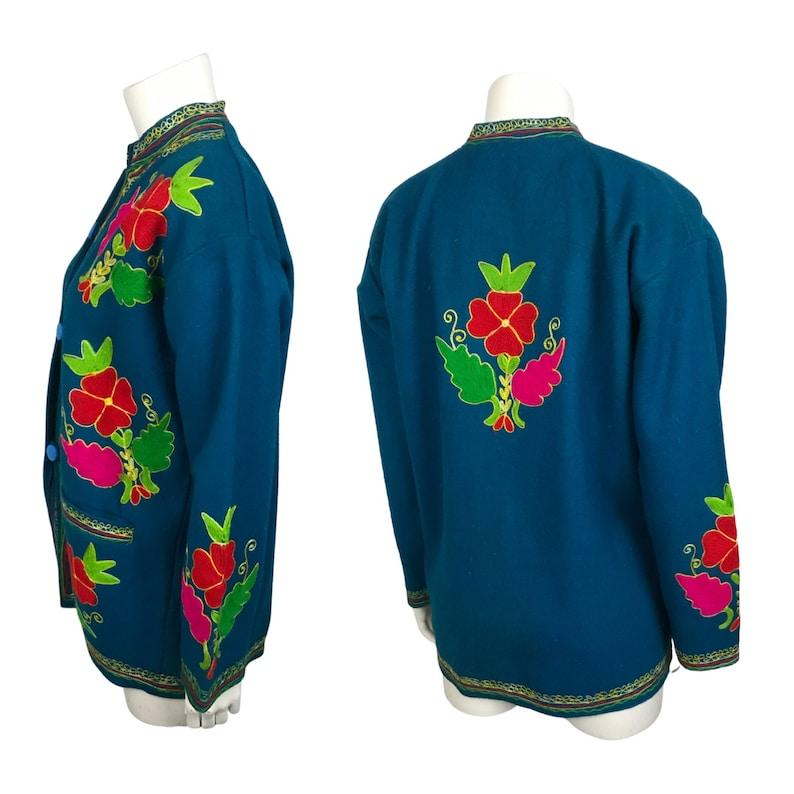 Vintage Mexican Shirt Jacket  Blue Wool Souvenir Embroidered Jacket  Women\u2019s Large