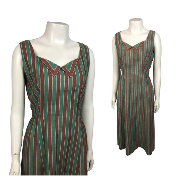 1950s Sleeveless Dress / Green Stripe Cotton Wiggl