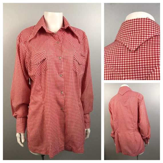 1960s Western Shirt / 60s Gingham Checked Button U