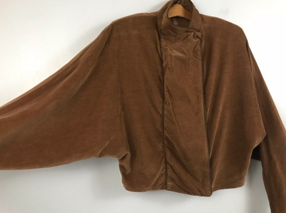 1980s Corduroy Jean Jacket  80s New Wave Cropped Asymmetrical Coat Dolman Sleeve  Women/'s Small