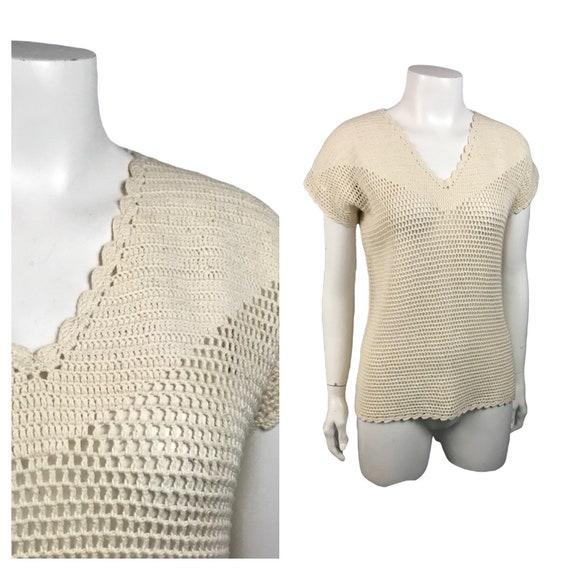 1940s Knit Sweater / Sheer Beige Crochet Knitwear